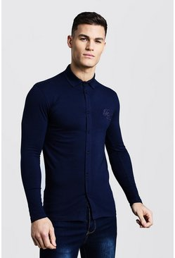 Mens Navy Long Sleeve Muscle Fit Jersey Shirt with BM Logo