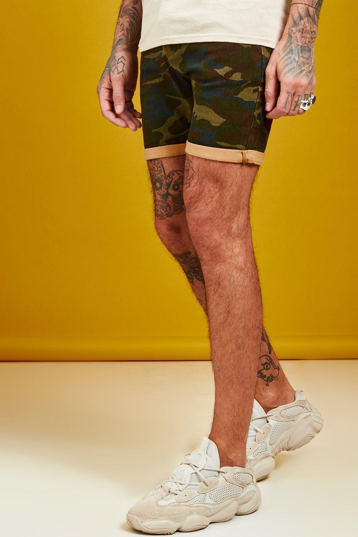 Skinny Fit Camo Print Denim Shorts