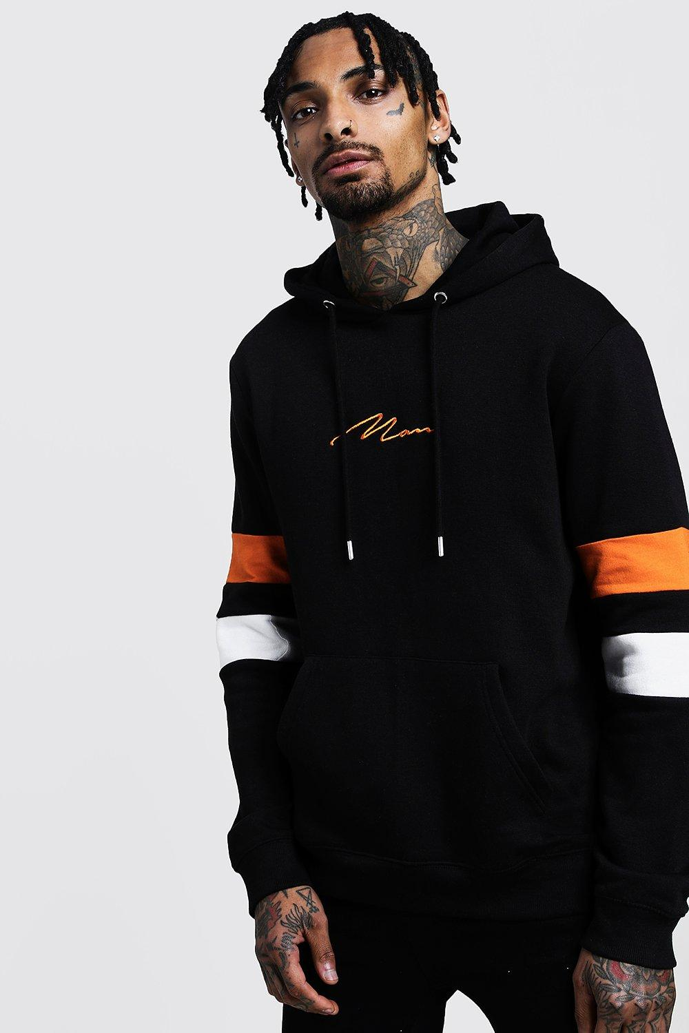 MAN Signature Contrast Panel Hoodie