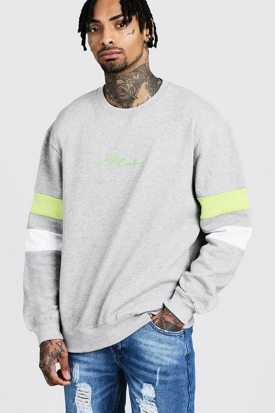 MAN Signature Loose Fit Contrast Panel Sweater