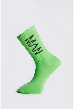 Mens Green Neon Man Ribbed Sock
