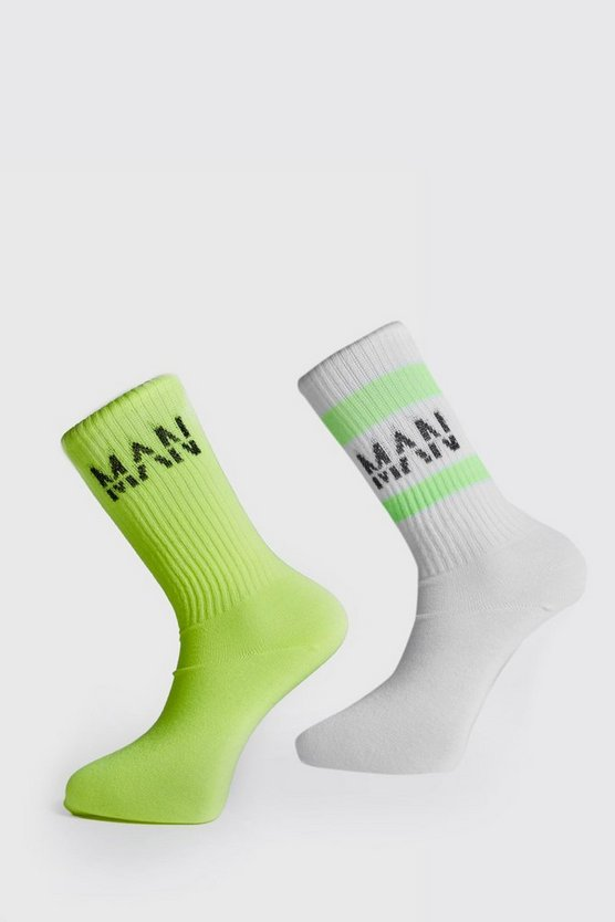 Mens Yellow 2PK Neon Man Ribbed Socks