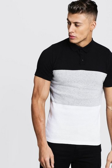 Mens Black Short Sleeve Knitted Colour Block Polo