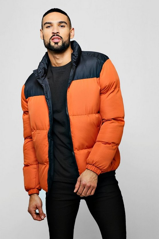 Mens Orange Colour Block Funnel Neck Puffer