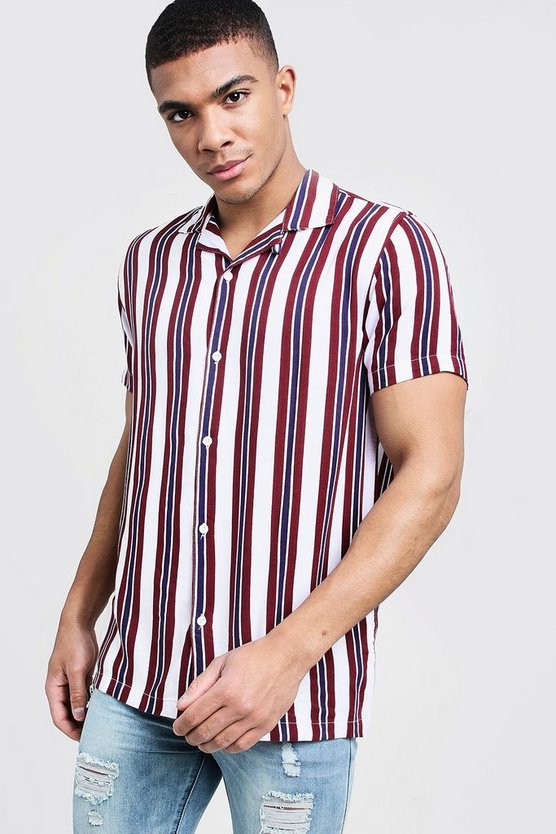 White Short Sleeve Stripe Revere Viscose Shirt