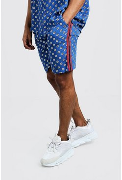 Mens Blue Geo Floral Tape Short