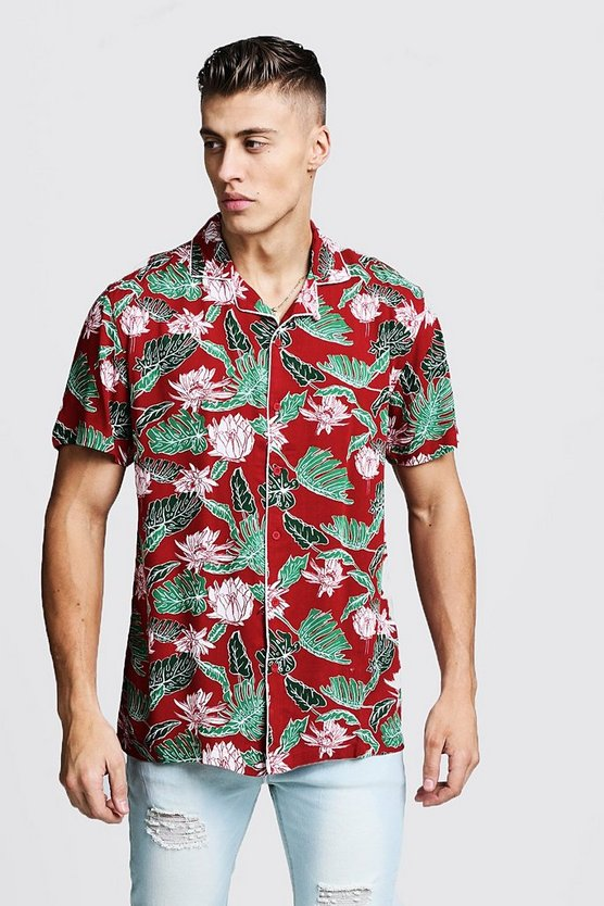Mens Red Leaf Print Short Sleeve Revere Viscose Shirt
