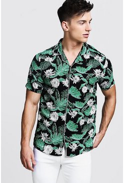 Mens Black Leaf Print Short Sleeve Revere Viscose Shirt