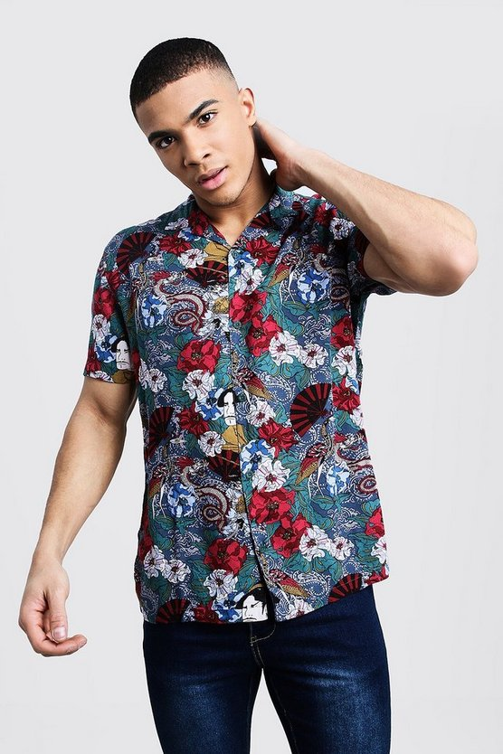 Mens Blue Japanese Print Short Sleeve Revere Viscose Shirt