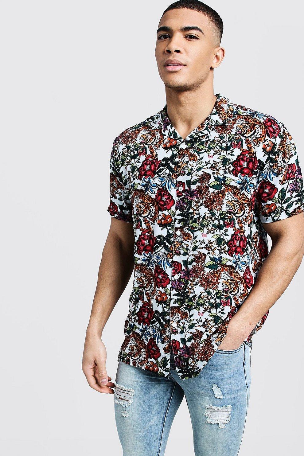 eef0c9ca Mens Ecru Floral Tiger Print Short Sleeve Revere Shirt
