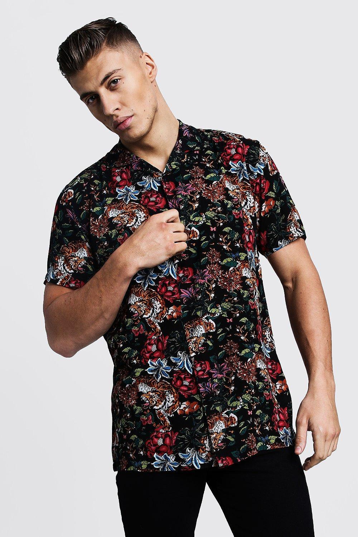 Floral Tiger Print Short Sleeve Revere Shirt