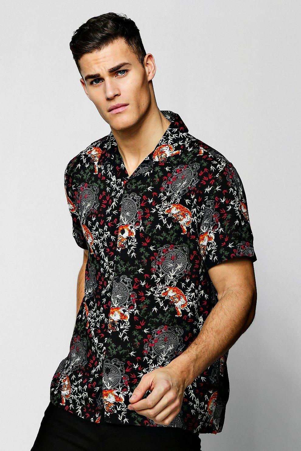 Tiger Print Short Sleeve Revere Viscose Shirt  a3967b313