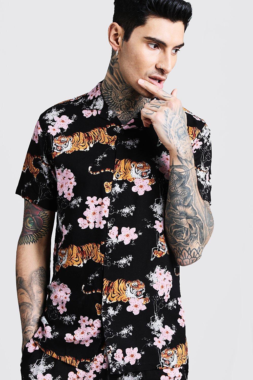 Oriental Print Short Sleeve Revere Viscose Shirt