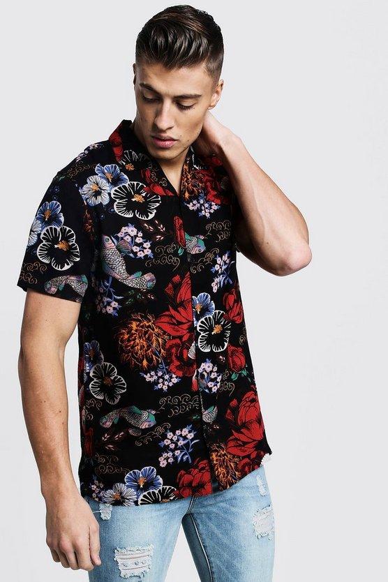 45b2d43d Shoptagr | Floral Print Short Sleeve Revere Viscose Shirt by Boohoo Man