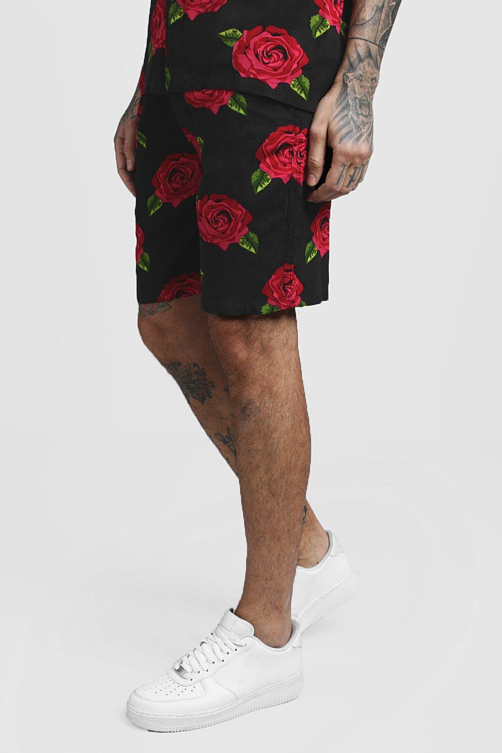 Rose Print Viscose Short