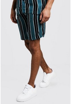 Mens Green Wide Stripe Viscose Short