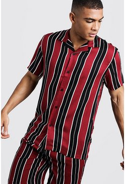 Mens Burgundy Wide Stripe Short Sleeve Revere Viscose Shirt