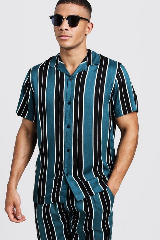 Green Wide Stripe Short Sleeve Revere Viscose Shirt
