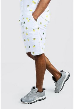 Mens White Lemon Print Cotton Short