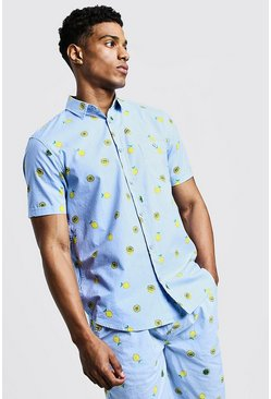 Mens Blue Lemon Print Short Sleeve Cotton Shirt