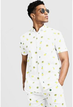 Mens White Lemon Print Short Sleeve Cotton Shirt