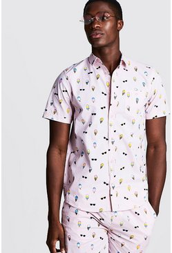 Mens Pink Ice Cream Print Short Sleeve Cotton Shirt