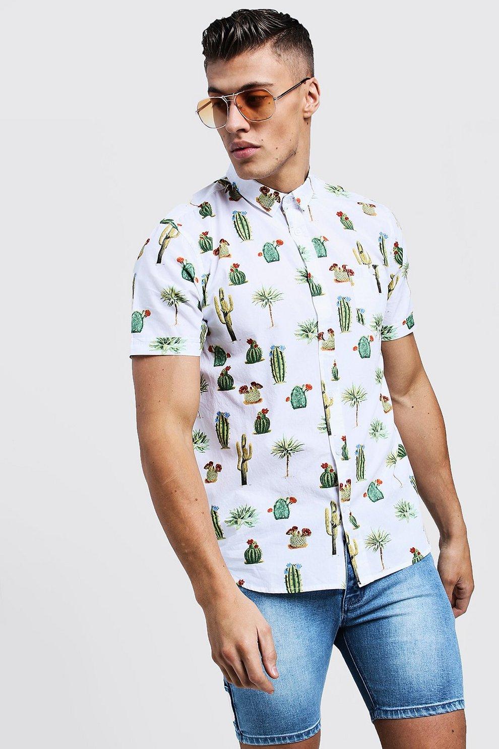 Cactus Print Short Sleeve Cotton Shirt Boohoo