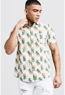 Mens Pink Pineapple Print Short Sleeve Cotton Shirt