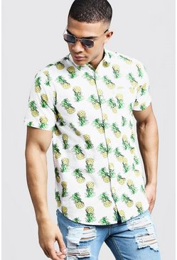 Mens White Pineapple Print Short Sleeve Cotton Shirt