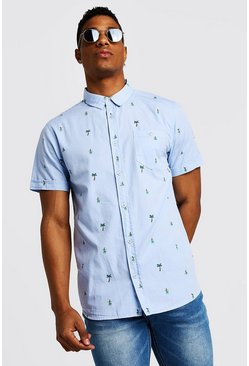 Mens Blue Palm Tree Print Short Sleeve Cotton Shirt