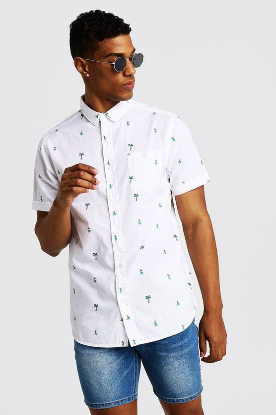 Mens White Palm Tree Print Short Sleeve Cotton Shirt