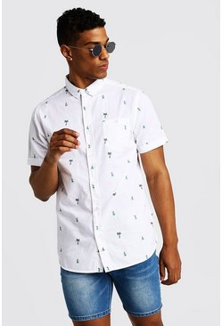 Herr White Palm Tree Print Short Sleeve Cotton Shirt