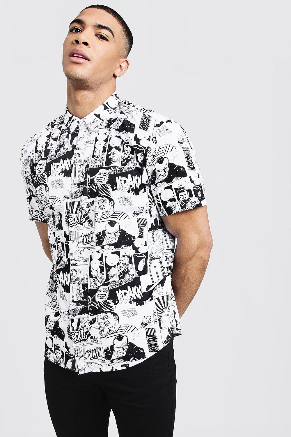 Comic Print Short Sleeve Cotton Shirt