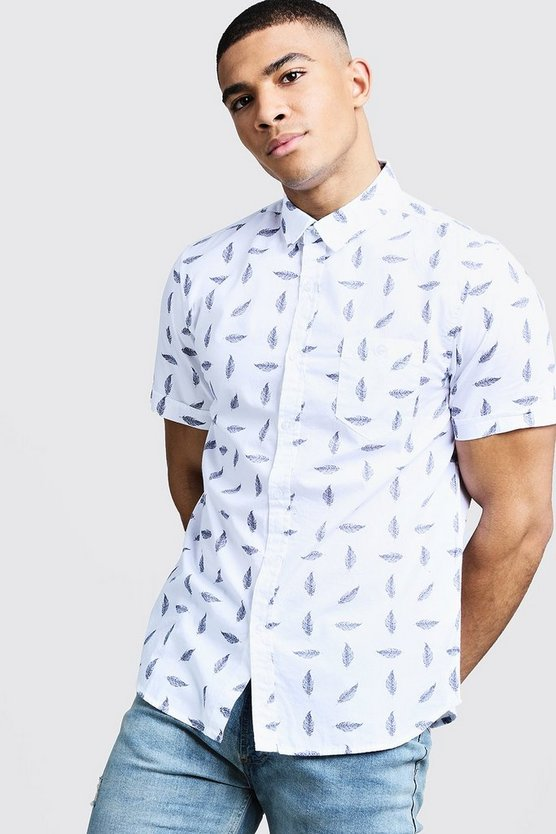 Mens White Feather Print Short Sleeve Cotton Shirt