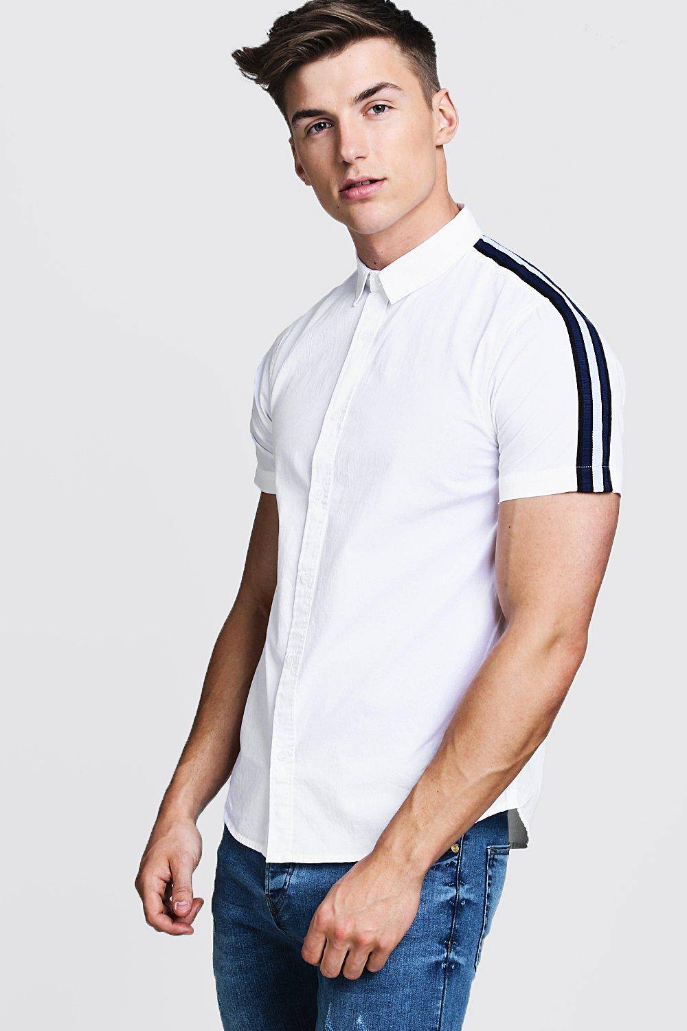 Short Sleeve Cotton Shirt With Sleeve Tape