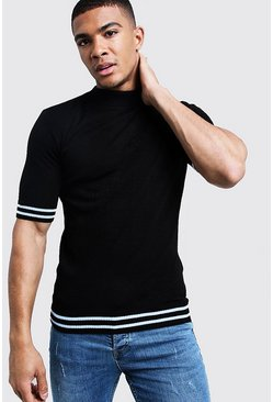 Mens Black Muscle Fit Turtle Neck Stripe Detail Knitted Tee