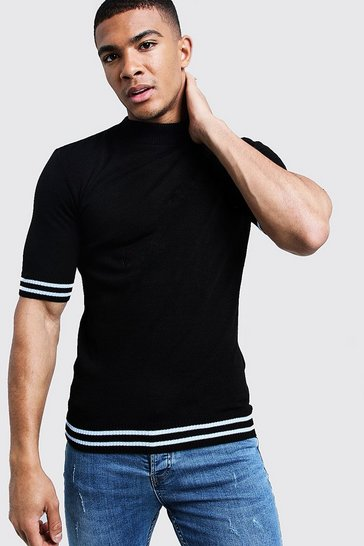 Mens Muscle Fit Turtle Neck Stripe Detail Knitted Tee