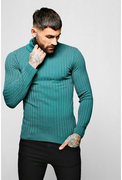 Mens Jade Muscle Fit Ribbed Long Sleeve Roll Neck Sweater