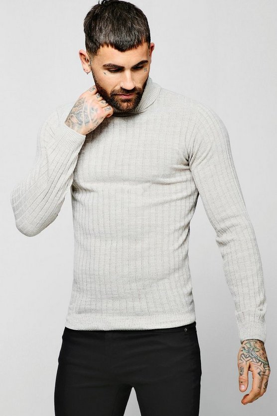 Muscle Fit Ribbed Long Sleeve Roll Neck Jumper