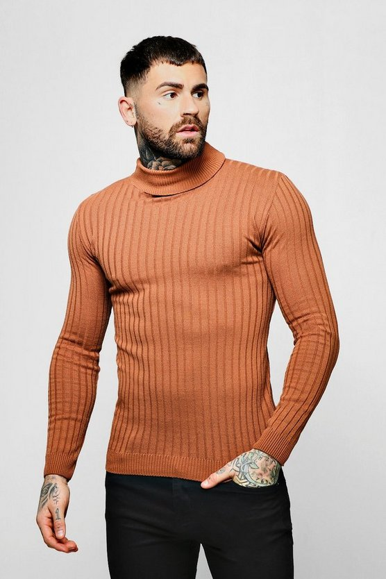 Mens Tobacco Muscle Fit Ribbed Long Sleeve Roll Neck Jumper
