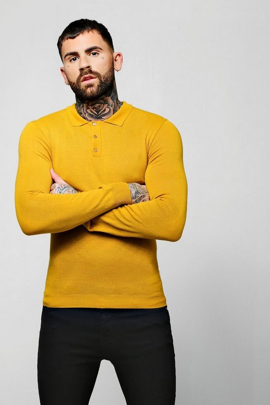Mustard Muscle Fit Long Sleeve Knitted Polo