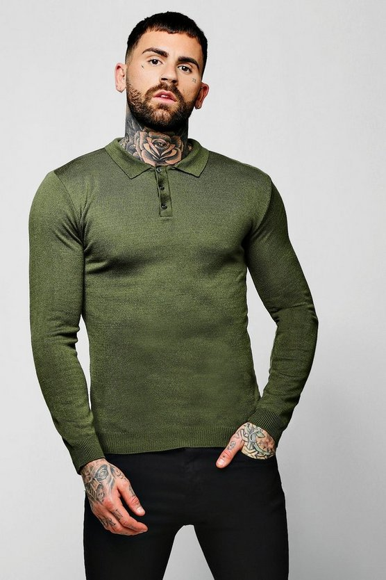 Muscle Fit Long Sleeve Knitted Polo