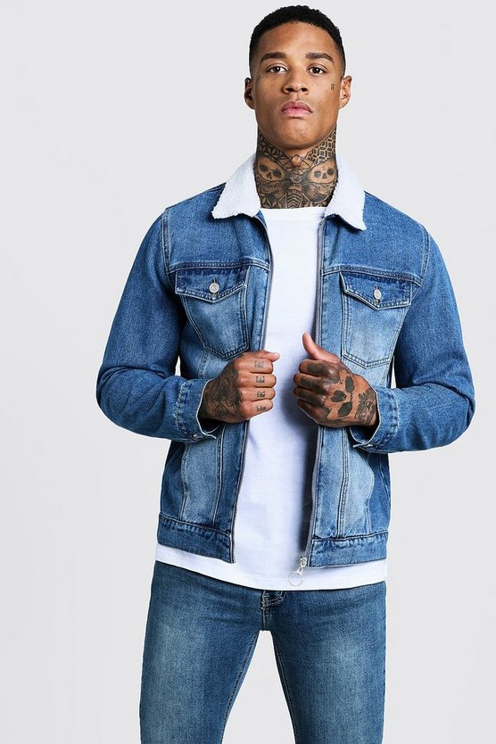Mid Blue Denim Jacket With Borg Collar