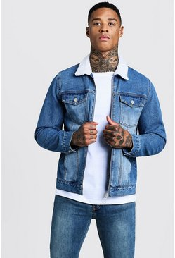 Mens Mid Blue Denim Jacket With Borg Collar