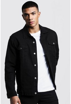 Mens Washed black Regular Fit Denim Jacket