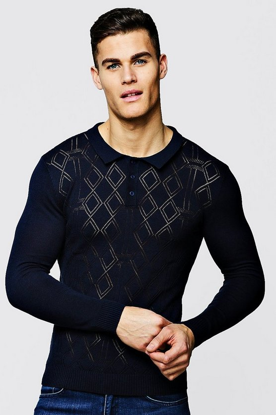 Mens Navy Diamond Knitted Long Sleeve Polo