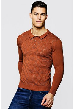 Mens Rust Diamond Knitted Long Sleeve Polo