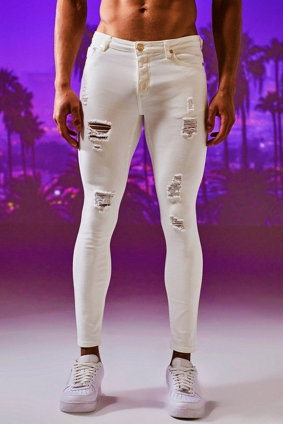 Mens White Spray On Skinny Distressed Denim Jeans