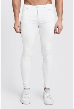 Mens Spray On Skinny White Denim Jeans