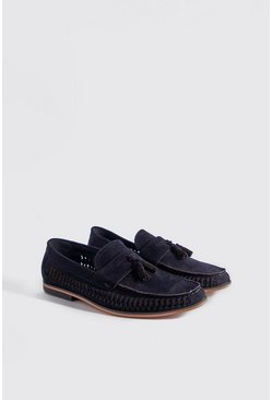 Mens Navy Faux Suede Weave Tassel Loafer
